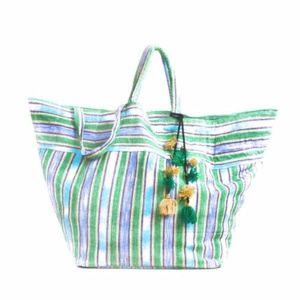 JADE TRIBE Samui Stripe Tassle Beach Bag - Green